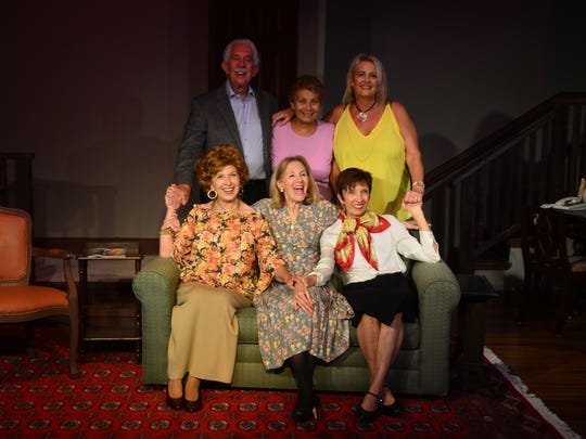 """The cast of """"The Cemetery Club"""" include, from left, front: Rhonda Davis as Mildred, Patti Caroli as Ida and Casey Cobb as Doris; back: Victor Caroli as Sam, Director Anna Segreto and Nancy Martin as Lucille."""