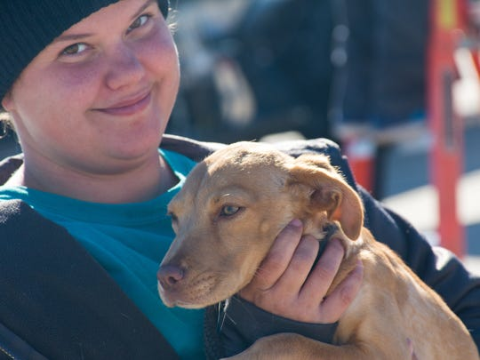 Acadiana Animal Aid Volunteer Michelle Johnson. More than 120 shelter pets boarding a Freedom Flight to new homes in the Pacific Northwest, East Coast and Canada.