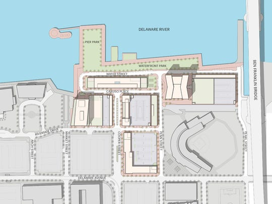 A site plan provided by Liberty Property Trust shows the developer's vision for the complex on the Camden Waterfront.
