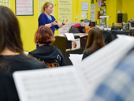 Holly Grefe, Choir Director during rehearsal as Lafayette