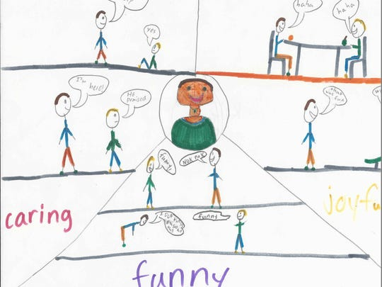 The three best things about me are I'm caring, joyful and funny. I am caring because I help my friends when they need me and never let them down. I'm joyful because my friends make me laugh and we always have fun. I am funny because I love telling funny jokes and acting funny.  Kyler Head Grade 3 Highland Elementary