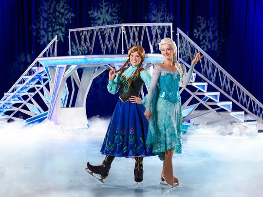 """Frozen"" sister Anna and Elsa will take to the ice this weekend during seven performances of Disney on Ice presents Worlds of Enchantment."