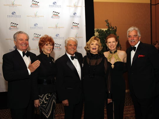 Robert Wagner, Jill St. John, Frankie Randall, Barbara Sinatra, Melinda Read and Dennis Farina pose at the Frank Sinatra Starkey Hearing Foundation Celebrity Invitational gala in 2010.