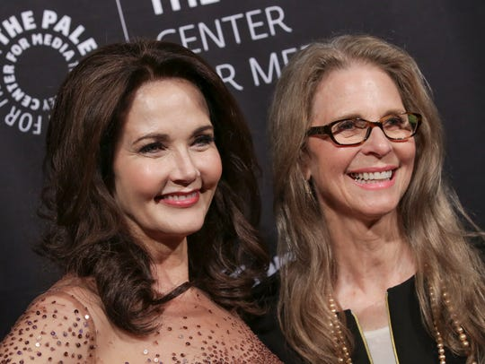 Actresses Lynda Carter, left, and Lindsay Wagner attend