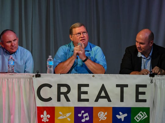 Gregg Gothreaux President & CEO of LEDA speaking at The CREATE Summit at Vermillionville. Friday, Aug. 25, 2017.