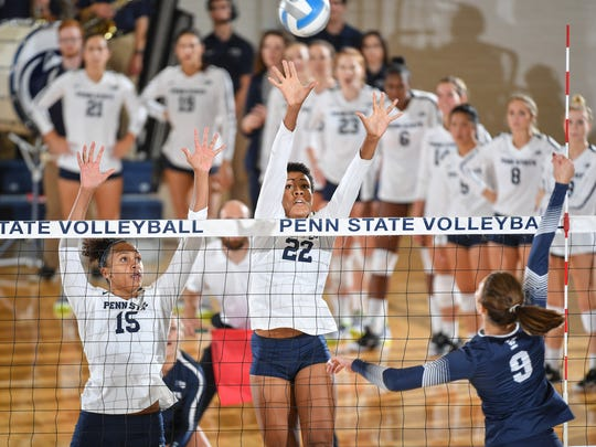 Penn State's Simone Lee (22) elevates during a match against Yale earlier this year.