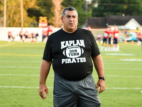 Pirates Head Coach Stephen Lotief as The Kaplan Pirates travel to Gardner Memorial Stadium to take on The Notre Dame Pios. Thursday, Sept. 28, 2017.