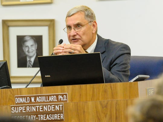 Lafayette Parish Superintendent Donald Aguillard speaks