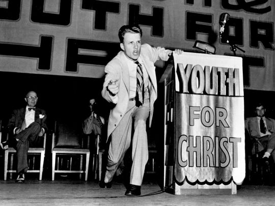 Billy Graham delivers a sermon at age 27.
