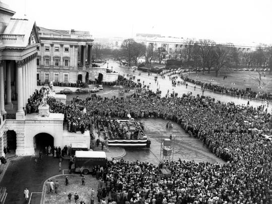 Billy Graham on the steps of the Capitol in Washington, D.C. preaching a service on February 3, 1952.