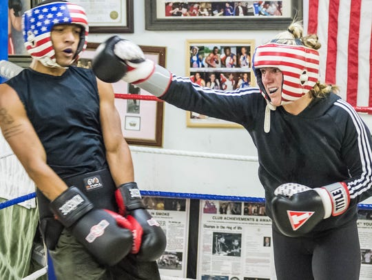 Candice Walls sparring on Thursday night as she prepares