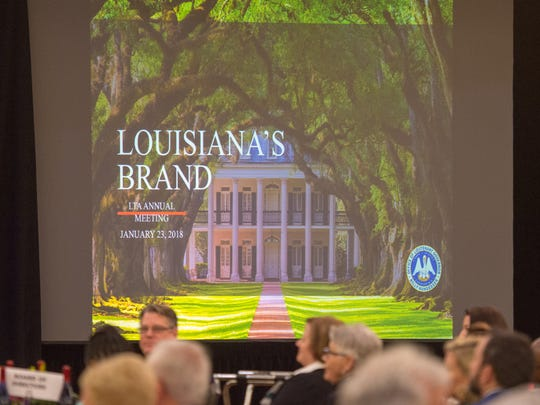 Lt. Governor Billy Nungesser unveiling the new state tourism branding at the Louisiana Travel Promotion Association (LTPA) Annual Meeting. Tuesday, Jan. 23, 2018.
