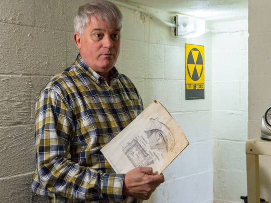 Chris Edwards provides tour of bomb/fallout shelters at his home that was built by a previous owner in the 1960s at the height of the Cuban Missile Crisis. Wednesday, Jan. 24, 2018.