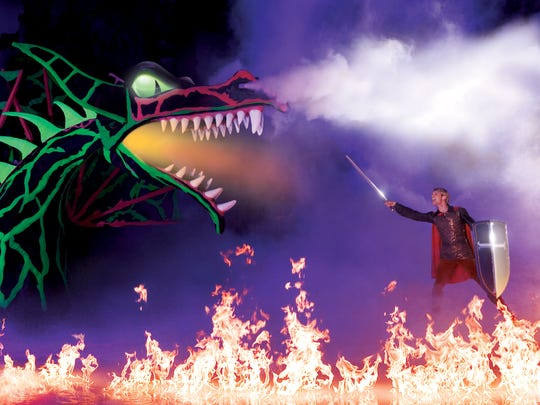 A fire-breathing dragon is part of the fun in Disney