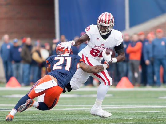 Indiana Hoosiers tight end Ian Thomas worked last fall