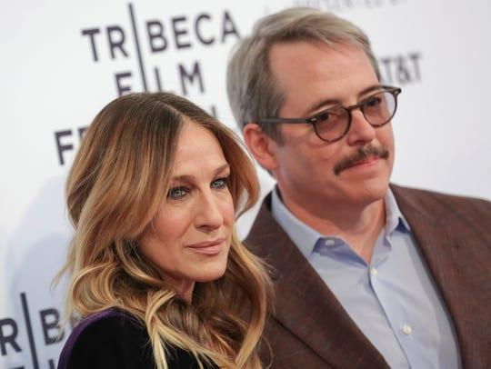"Sarah Jessica Parker was photographed wearing a button announcing her support for Beto O'Rourke's campaign. Parker is pictured with husband Matthew Broderick attend a screening of ""'To Dust' on Monday."