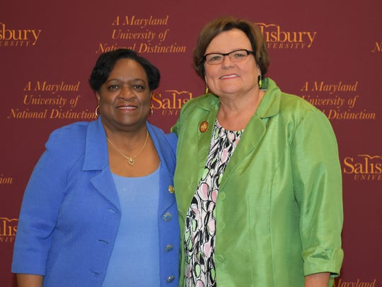 UMES President Juliette Bell (left) and SU President
