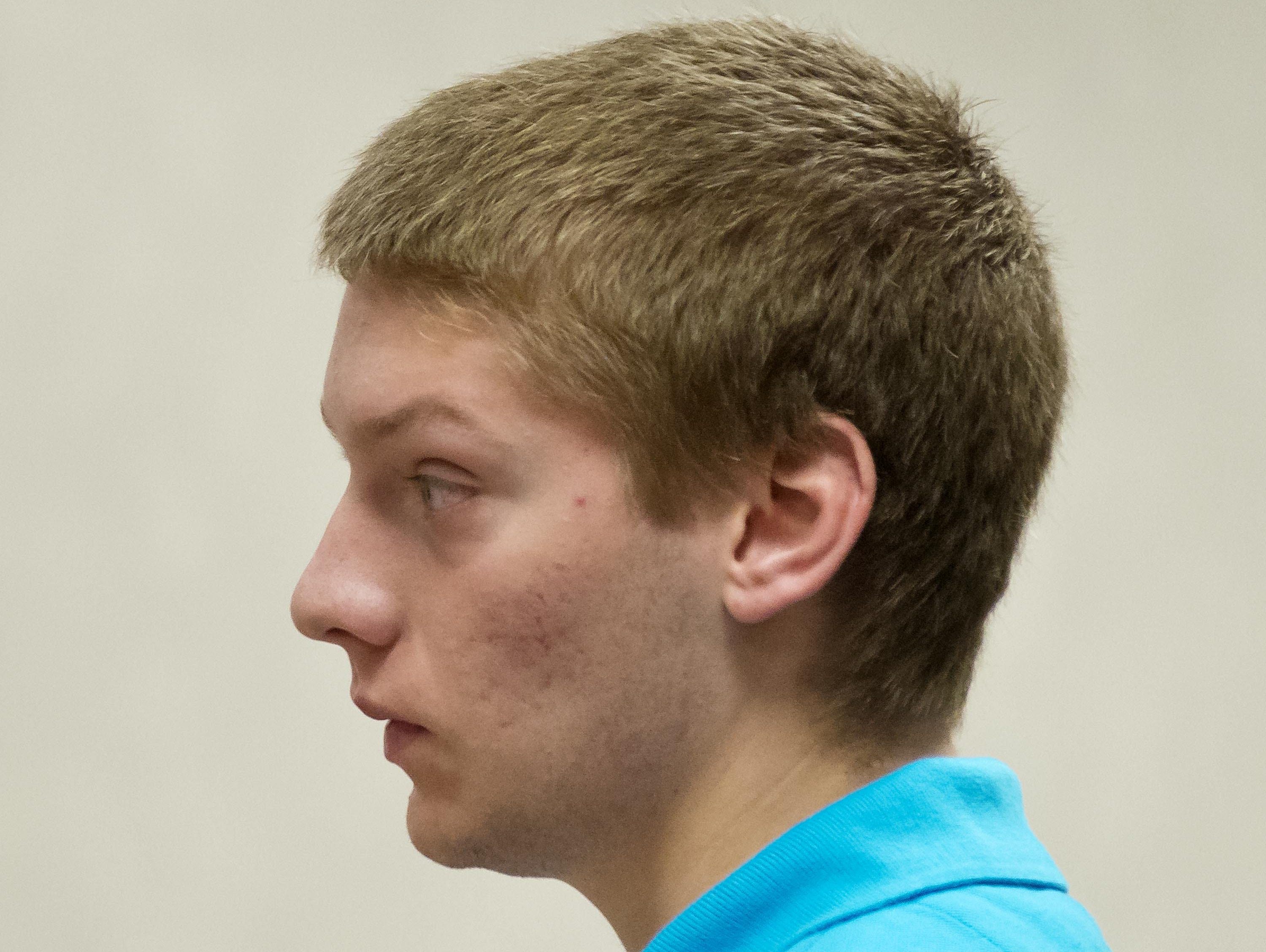 Colby Darling, one of five former Milton High School football players accused of hazing, pleads not guilty to a charge of simple assault in Vermont Superior Court in Burlington on Tuesday, August 19, 2014. Also accused are Ryan Carlson, Brian Lasell, Brandon Belliveau and William Jenkins. Carlson and Jenkins are out of state and did not appear at their arraignments.