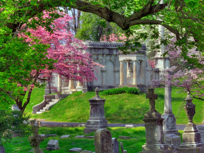 Marble Mausoleum with Dogwood accents. By Howard Keesy of New Haven, KY.