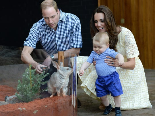 On his first overseas trip, 9-month-old Prince George met a bilby called George at the Bilby Enclosure at Sydney's Taronga Zoo on April 20, 2014. It was George's second official public engagement of his young life, during his parents' Down Under tour of Australia and New Zealand.
