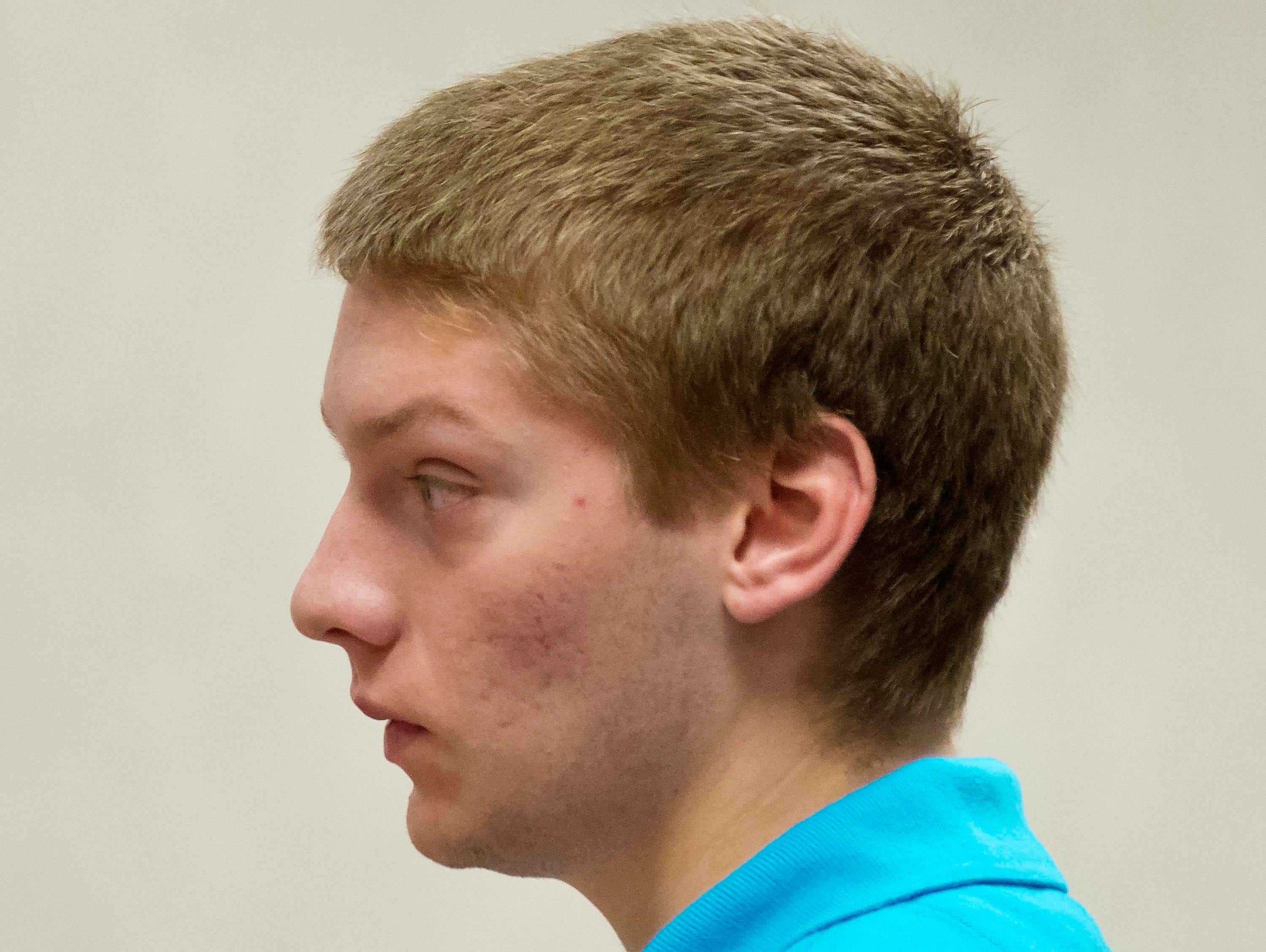 Colby Darling, 18, of Milton, Vt., pleads not guilty Aug. 19, 2014, in Vermont Superior Court in Burlington, Vt., to a simple assault charge.
