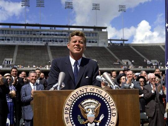 President Kennedy at Rice University in Houston in 1962.