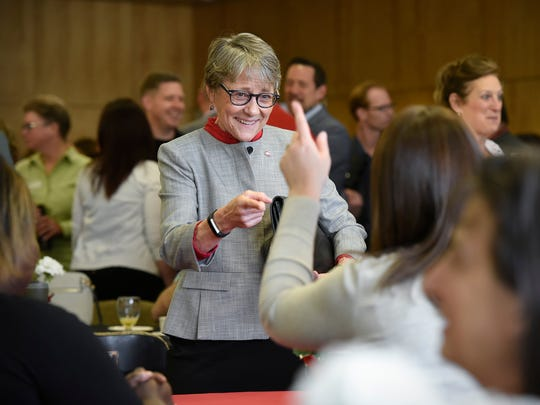 New St. Cloud State University President Robbyn Wacker talks with faculty and guests during a reception Thursday, May 17, at Atwood Memorial Center.