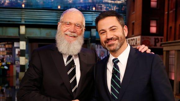 David Letterman appears on 'Jimmy Kimmel Live' on Oct.