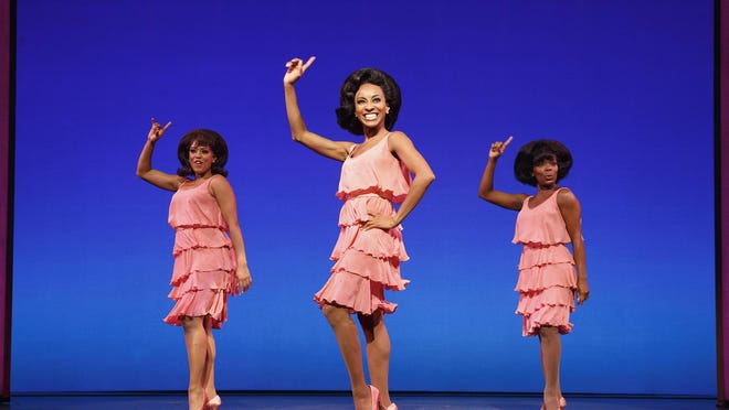 """Krisha Marcano, from left, Allison Semmes and Trisha Jeffrey appear during a performance of """"Motown The Musical,"""" in New York."""