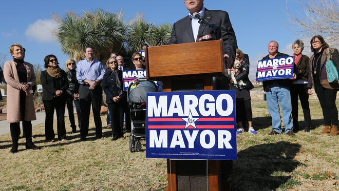 Dee Margo announced his candidacy for mayor of El Paso during a news conference Wednesday at Tom Lea Park.