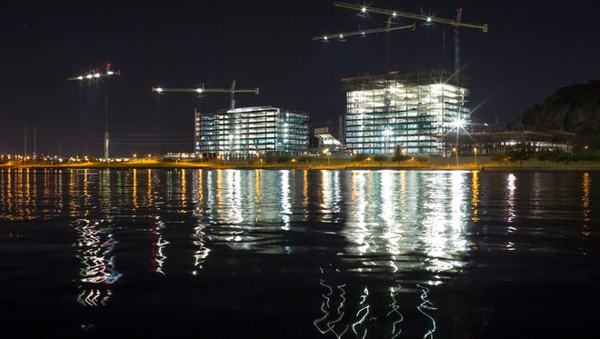 Construction continues at Marina Heights, October 2, 2014, on Tempe Town Lake. In his State of the City address last week, Tempe Mayor Mark Mitchell praised the development boom taking place in the city.