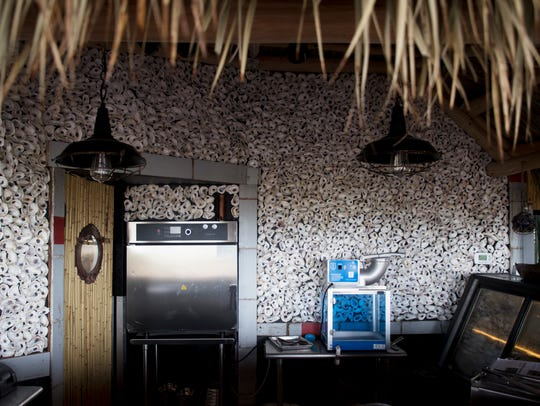 The raw bar is lined with oyester shells at Bimini