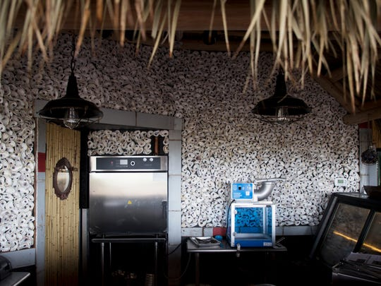 The raw bar is lined with oyester shells at Bimini Bait Shack.