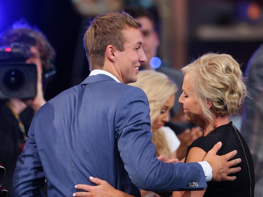 Luke Kennard (Duke) reacts after being introduced as the 12th overall pick to the Detroit Pistons in the first round of the 2017 NBA Draft at Barclays Center.
