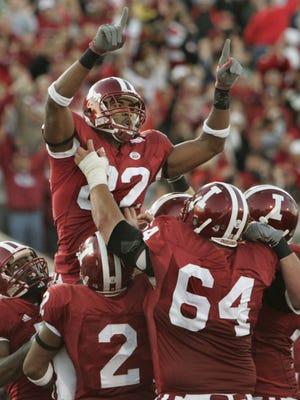 James Hardy celebrated his touchdown reception in the Old Oaken Bucket game on Nov. 17, 2007.