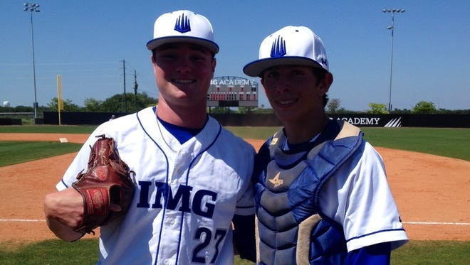 Logan Allen, left, and IMG Academy catcher Alex Mangome.