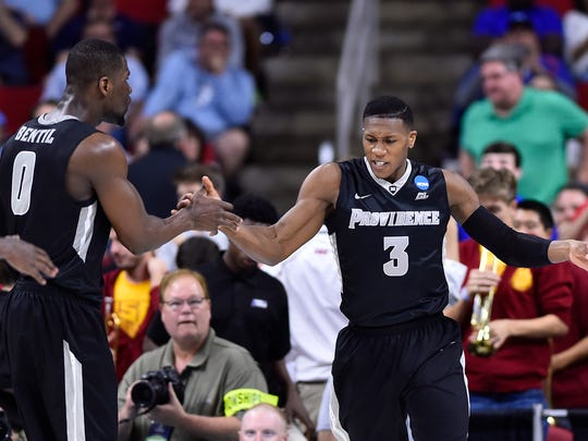 Providence Friars guard Kris Dunn (3) celebrates with