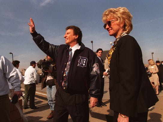 Mikie and Marian Ilitch at the groundbreaking for the