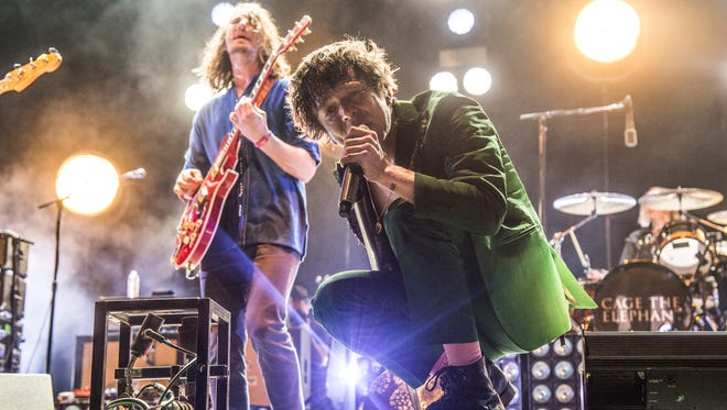 Nick Bockrath, left, and Matt Shultz of Cage The Elephant perform at the Bonnaroo Music and Arts Festival on Saturday, June 10, 2017, in Manchester, Tenn. (Photo by Amy Harris/Invision/AP)