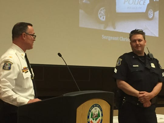 Sgt. Chris Lahtinen, right, won the Chief's Recognition