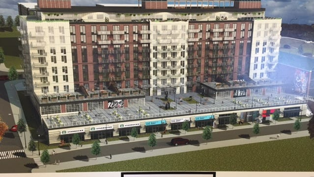 A rendering of Alma Realty's development slated to go between Park and Brown streets in Peekskill