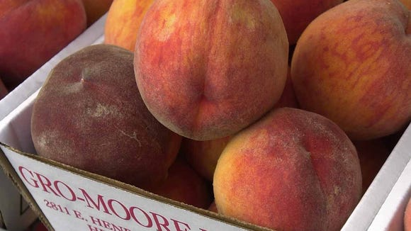 Peaches at Gro-Moore Farms in Henrietta.