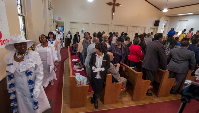 The procession during the Missionary Annual Day (2015) sponsored by the Marie Generette Women's Missionary Society at Bethel A.M.E. Church in York Sunday November 8, 2015.