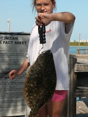 Kaitlyn Ward caught this flounder Sunday during the Treasure Coast Casters' monthly tournament.