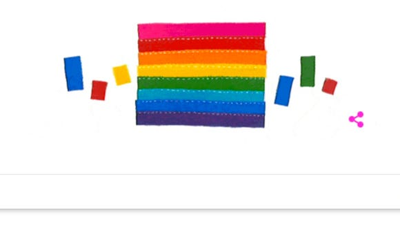 The Google Doodle honoring Gilbert Baker, creator of