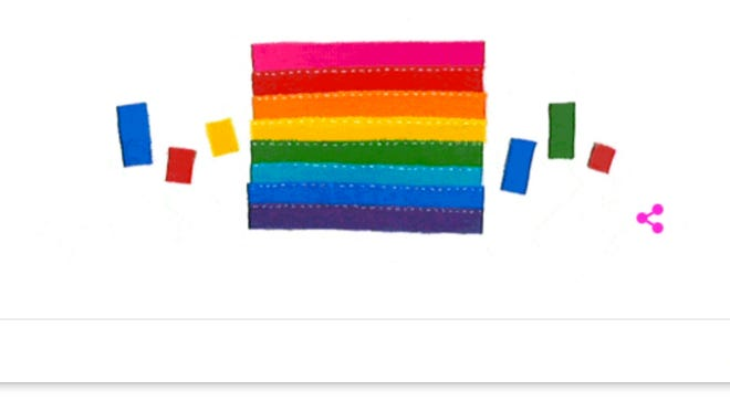 The Google Doodle honoring Gilbert Baker, creator of the rainbow flag.