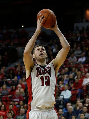 UNLV forward Ben Carter (13) shoots against Air Force during the second half of an NCAA college basketball game Saturday, Jan. 16, 2016, in Las Vegas.