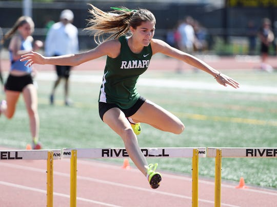 Boys and girls track and field championship at River Dell High School on Friday, May 26, 2017. Grace O'Shea, of Ramapo, competes in the 400M Hurdles.