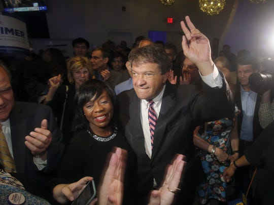 George Latimer celebrates in White Plains after unseating Rob Astorino as Westchester County executive on Tuesday. With Latimer was Arlene Gordon-Oliver, who won her race for Westchester Family Court Judge. George Latimer celebrates at the Coliseum in White Plains, after unseating Rob Astorino as Westchester County Executive Nov. 7, 2017. With Latimer was Westchester Arlene Gordon-Oliver, who was who won her race for Westchester Family Court Judge.