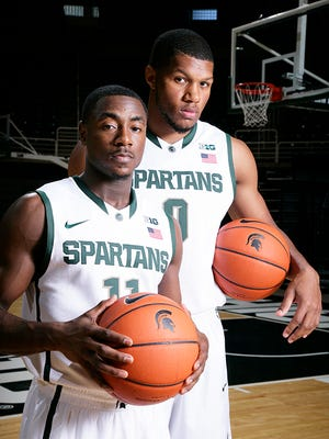 Freshmen Lourawls Nairn Jr., left, Marvin Clark Jr. and the Spartans will play in the Wooden Legacy next season.